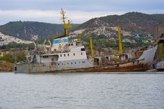 Sunken ship sea Stock Image