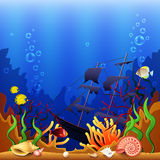 Sunken ship underwater background vector Stock Photo