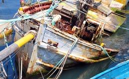 Sunken ship. View of the sunken ship in the harbor Stock Image
