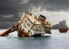 The sunken shipwreck. Stock Photo