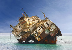 The sunken shipwreck on the reef, Egypt Royalty Free Stock Photo
