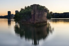 The sunken shipwreck on the reef, Homebush Bay, Sydney, Australia Stock Photography