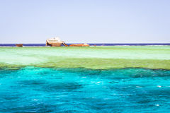 The sunken shipwreck on the reef, Red Sea, Sharm El Sheikh Royalty Free Stock Images