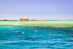 The sunken shipwreck on the reef, Red Sea, Sharm El Sheikh Stock Image