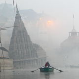Temple. On the Ganges River in Varanasi India in the early morning mist we found this sunken temple Stock Photo