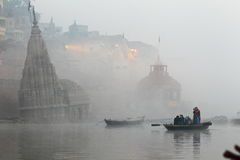 Temple. On the Ganges River in Varanasi India in the early morning mist we found this sunken temple Stock Photography