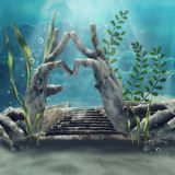 Sunken temple ruins. Fantasy underwater scene with sunken temple ruins in the shape of hands Royalty Free Stock Image