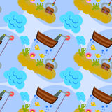Sunken treasure seamless background design Royalty Free Stock Photo