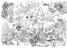 Sunken treasure. Wreck. Vector illustration. Doodle drawing. Meditative exercise. Coloring book anti stress for adults. Stock Image