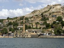 Sunken village Halfeti in Gaziantep Turkey. TURKEY, GAZIANTEP - 2014 - JUNE ,08 -  Historical village and castle at birecik dam of Halfeti, Turkey Stock Images
