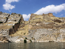 Sunken village Halfeti and rumkale in Gaziantep Turkey Royalty Free Stock Photography