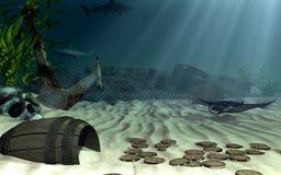 Sunken warship Royalty Free Stock Photography