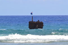 Sunken Wreck. This wreck is off the coast of Rarotonga.  Photo taken in January 2014 Stock Images