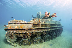 Sunken wreck of a tank in Aqaba. Royalty Free Stock Photo