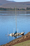 Sunken Yacht in the Shallows of Midmar Dam Royalty Free Stock Photo