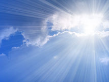 Sunlight. Beautiful blue sky with sunlight Royalty Free Stock Photos