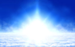 Sunlight above sky. Digital painting - epic glowing sun above clouds Royalty Free Stock Image