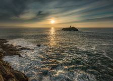 Sunlight across Sea, Godrevy Lighthouse, Cornwall royalty free stock photo
