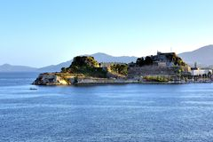 Sunlight on the apartments of Corfu Stock Photography