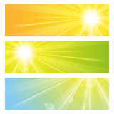 Sunlight banners. Set of three sunshine banners Royalty Free Stock Images