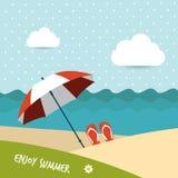 Sunlight beach day. red umbrella on tropical islan Stock Photo