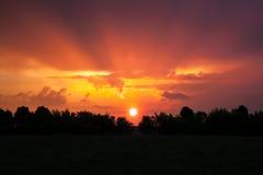 Sunlight beam at sunset Stock Image