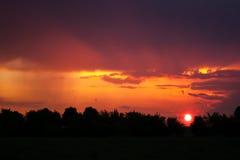 Sunlight beam at sunset Royalty Free Stock Image