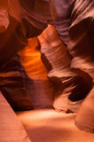 Sunlight Beams Through Crevasse Sandstone Rock Antelope Slot Canyon Stock Photo