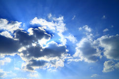 Sunlight behind the cloud Stock Images