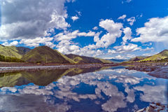 Sunlight. Blue sky, white clouds and lakes in the sun Royalty Free Stock Images