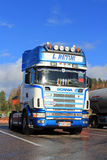 Sunlight on Blue and White Scania Truck in Autumn Stock Photo