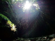Sunlight into the cave. Called Iokido Royalty Free Stock Photography