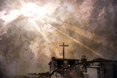Sunlight on the church. Grunge image of a church lighted by the sunlight over dark clouds stock illustration