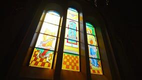 Sunlight Through Church Stain-glass Window.  Stock Photos
