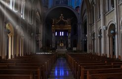 Sunlight in the church. Sunlight streams through the windows of the church at a Franciscan monastery in central Illinois royalty free stock photos