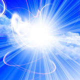 Sunlight in a clear blue sky Stock Images