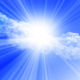 Sunlight in a clear blue sky Royalty Free Stock Photo