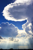 Sunlight through cloud in the evening Stock Photography