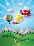 Sunlight on cloud with hot air balloon and airplane. Royalty Free Stock Photo
