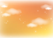 Sunlight clouds. Illustration clouds and stars background in sunlight Stock Photos