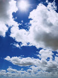 Sunlight between the clouds. Sunlight between clouds and blue sky Stock Photos