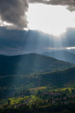 Sunlight through clouds. Sunlight going through cloud at Vujnovici, Vrbovsko - Croatia Stock Photography