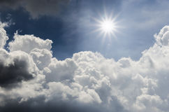 Sunlight. And cloudy  blue sky Stock Images