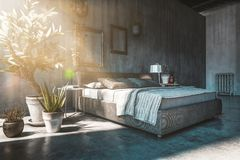 Double bed in loft style bedroom Royalty Free Stock Photography