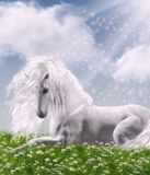 In the sunlight. Computer graphics scene with a white unicorn in the sunlight in the meadow with daisies stock illustration