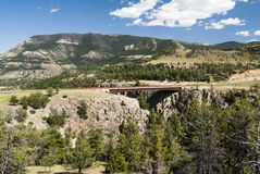 Sunlight Creek Gorge. Bridge across the Sunlight Creek Gorge along the Chief Joseph Scenic Byway in Wyoming Stock Photography