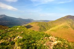 Sunlight on Whiteless Breast and Pike. Sunlight on the Cumbrian Mountains royalty free stock images