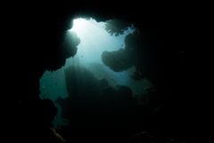 Sunlight and Dark, Underwater Cave Royalty Free Stock Image