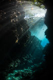 Sunlight and Dark Underwater Grotto in Solomon Islands Stock Image