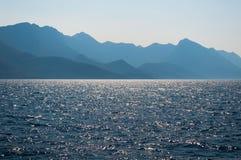 Sunlight emerging behind Biokovo mountain Stock Images